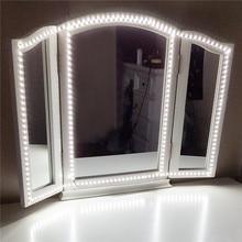 Светодиодные ленты для макияжа косметическое зеркало 240 светодио дный s зеркало света с диммер и Питание для туалетный столик, зеркало освещения
