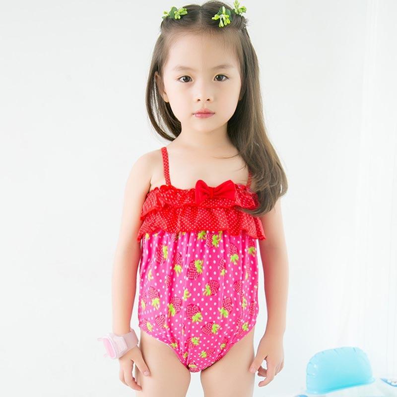 Hot Seller 2017 The New Children Swimwear Cute Pink Strawberry Bow