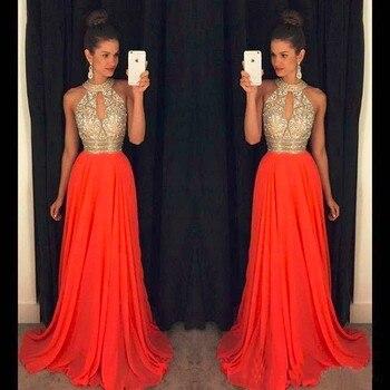 Orange Prom Dresses A Line Halter Top Crystal Beading Dress For Graduation Vestidos de formatura longo 2018 abendkleider 6