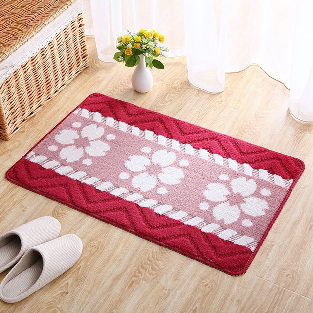 Mdct 40x60cm sweet red pink flowers welcome floor mats anti slip parlor hallway bathroom entrance