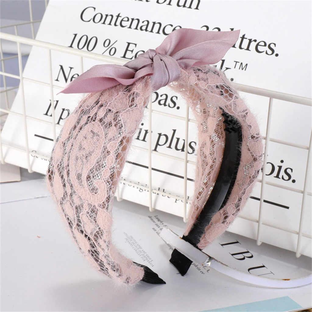 Сетчатая Кружевная повязка на голову для девочек, модный Японский Корейский кружевной бант, женские головные уборы, простые волосы, милая лента для волос #192