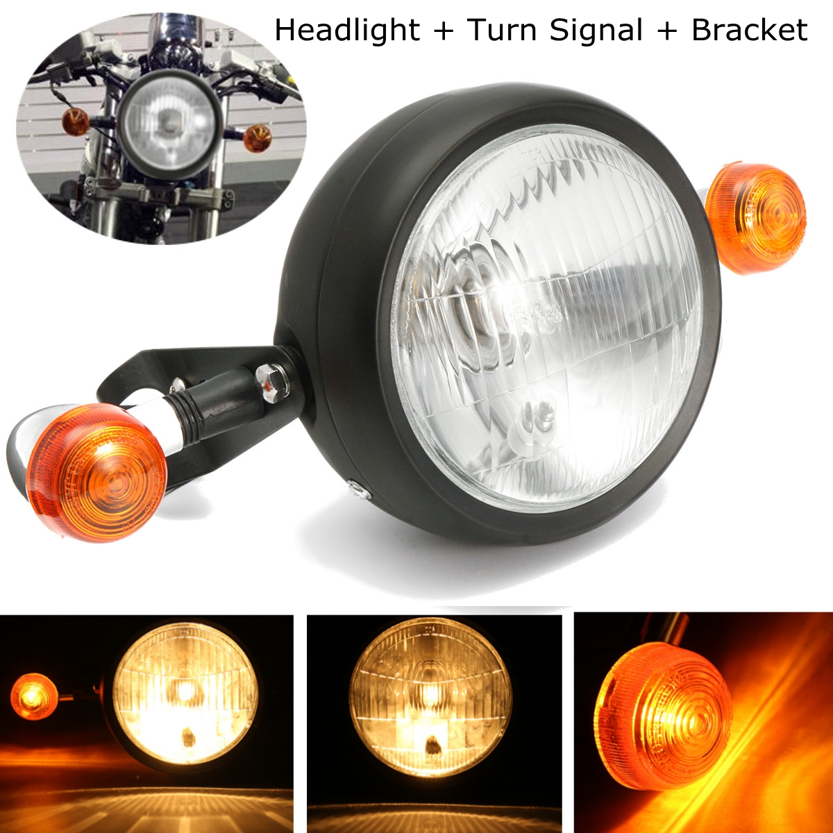 Motorcycle Retro Headlight Turn Signal Lamp Bulb Mount Cafe Racer Bobber Chopper Custom For Motor Bikes/  Cafe Racers, Etc