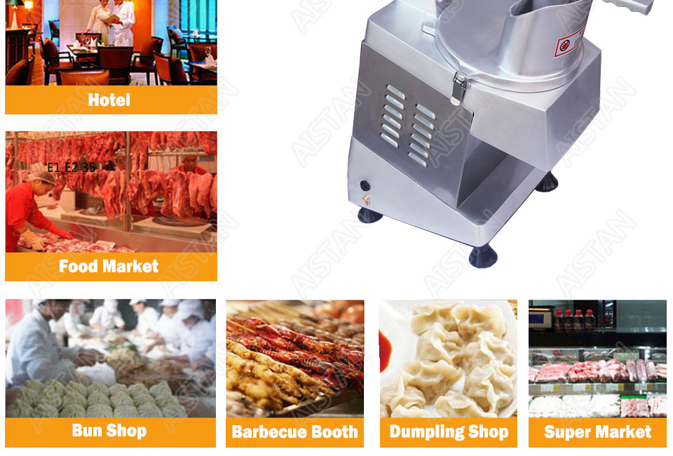 QC205 electric multi-purpose vegetable fruit cheese cutter dicing, cubing, slicing, stripped, grater slicer or shredded machine 16