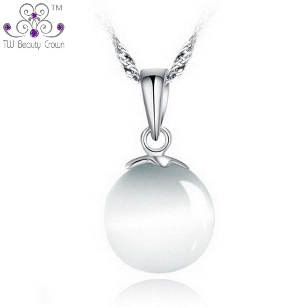 6057ce2fd0 Genuino plata esterlina 925 simple bola redonda ojo de gato piedra  Colgantes y Collares para las mujeres moda joyería Accesorios