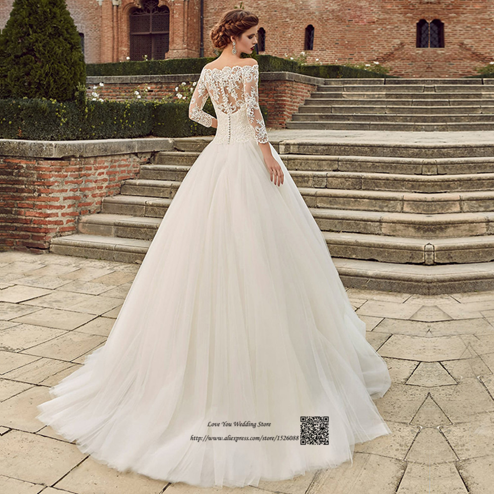 Country Western Wedding Dresses Princess Wedding Gowns 2017 Boat Neck Lace African Bride Dress 3