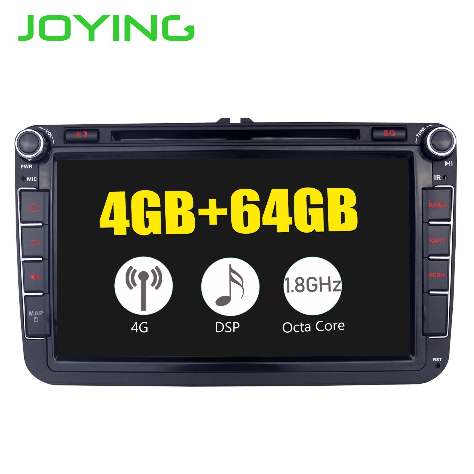 JOYING 4 GB Android 8.1 rádio do carro GPS player 8 núcleo unidade de cabeça com SPDIF para VW POLO/JETTA //SKODA Octivia/SuperB gravador
