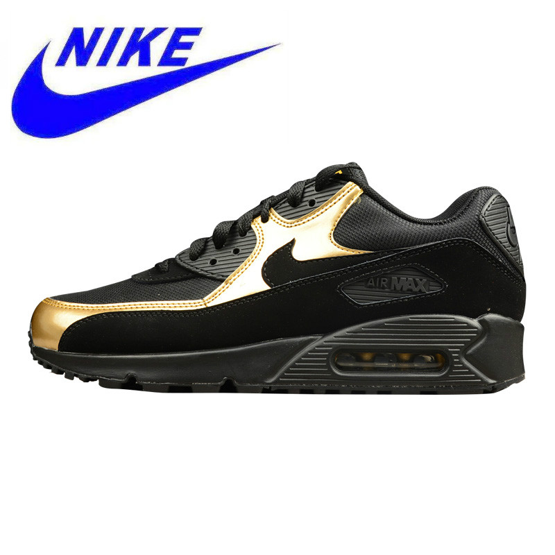 release date: 91b5f 4d6a0 Wear Resistant Breathable NIKE AIR MAX 90 ESSENTIAL Men s Running Shoes , Outdoor  Sneakers Shoes,Black Gold, Non-slip 537384 058