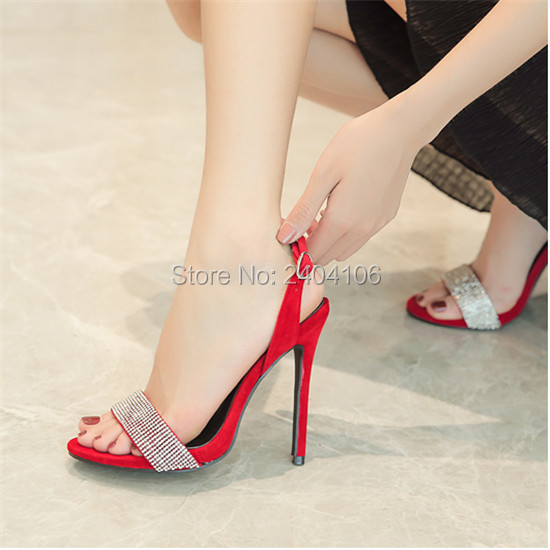 f35165e8f3b8 Chaussure Femme Faux Suede Black Red Sandles Sequined Ladies Party Wedding  Shoes Pumps Sexy High Heel Rhinestone Sandals Women