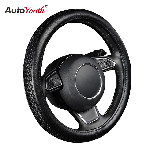 """AUTOYOUTH PU Leather Steering Wheel Cover Black Lychee Pattern with Anti-slip Braiding Style M Size fits 38cm/15"""" Diameter"""