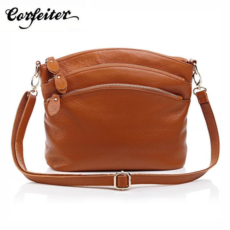 Corfeiter Multi Pockets Vintage Genuine Leather Bag Female Small Women Handbags Bags For Women 2018 Shoulder