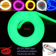 1 10m Allaperto e Al Coperto Illuminazione A LED Flex Luce Al Neon del LED SMD 2835 120 leds/M LED luce della corda Della striscia Impermeabile IP68 DC12V con adattatore