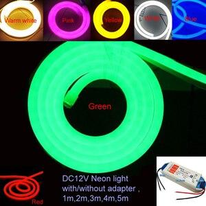 Image 1 - 1 10m açık ve kapalı LED aydınlatma esnek LED Neon işık SMD 2835 120 leds/M LED şerit halat ışık su geçirmez IP68 DC12V adaptörü ile