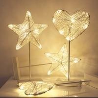 Ręcznie Wykonane 40 cm Biały Lampa LED Light Night Gwiazda Serce miłość Kształt Battery Power Dziewczyny Pokój Romantyczny Dekoracyjne Lampa Stolik nocny