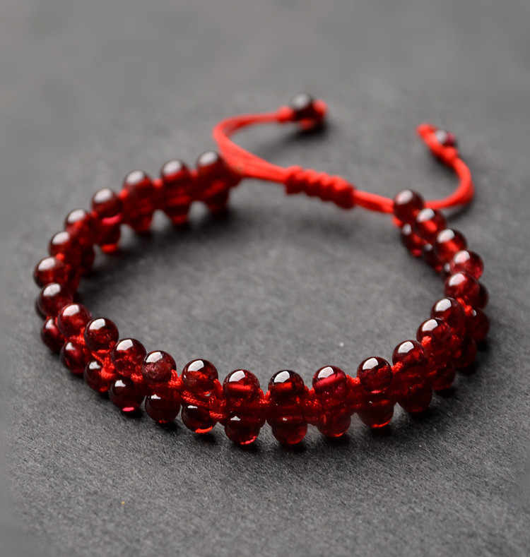 Drop Shipping Natural Garnet Bracelet Round Garnet Beads Handmade Red Rope Bracelet&Bangle Garnet Jewelry