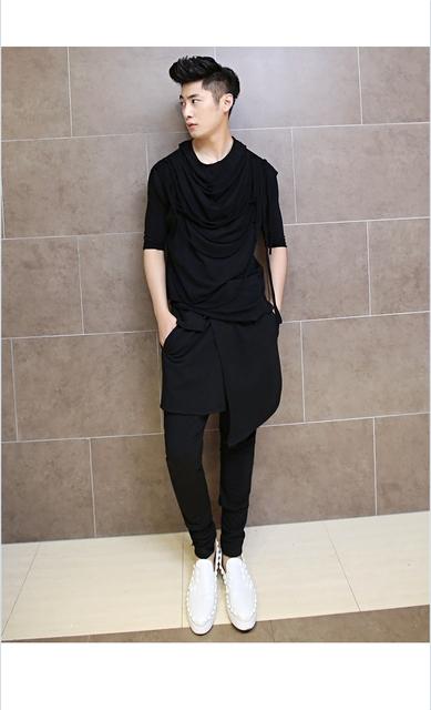 Outono Coreano Estilista Boate Flacidez Harem Hip Hop Dance Calças Casuais Mens Moda Calças Skinny Calças Leggings Homens Treino
