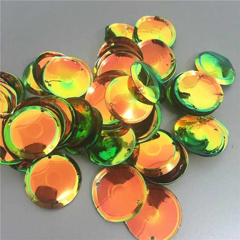 200 sztuk/partia duże okrągłe cekiny 20mm kubek pcv z 2 bocznymi otworami do dekoracji odzieży Handmade odzież akcesoria złoty czarny