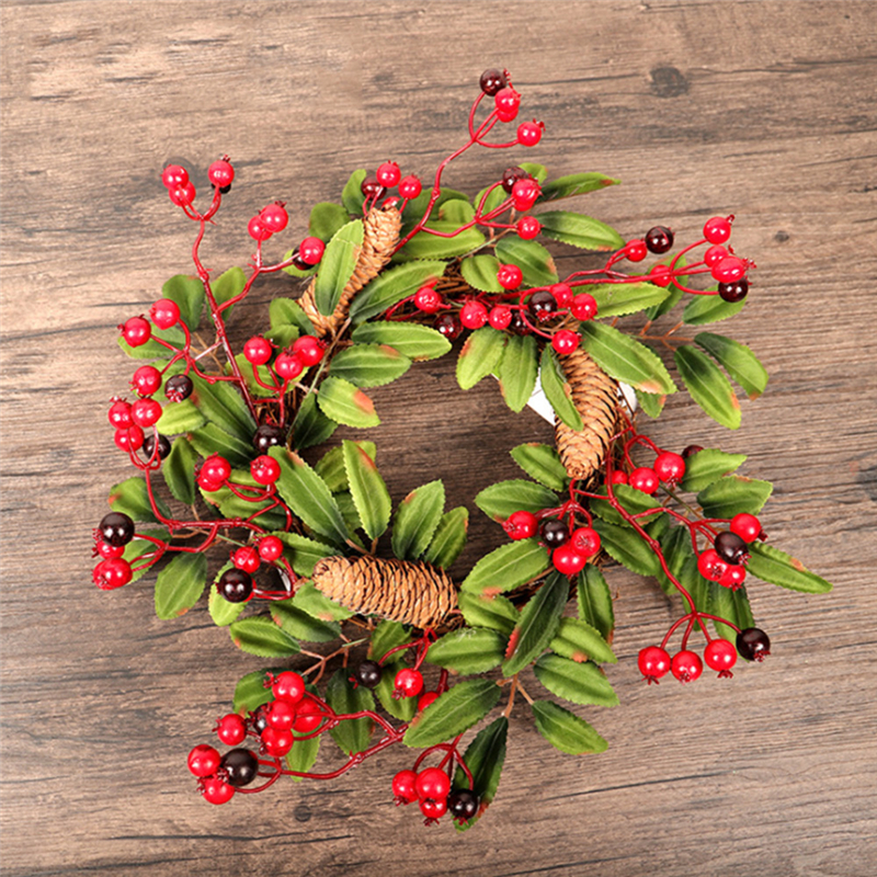 Image 3 - Christmas Wreath Door Decoration Artificial Foam Berry Wreath With Natural Pine Cone Pendant Wall Decor Wreath 40cm-in Wreaths & Garlands from Home & Garden