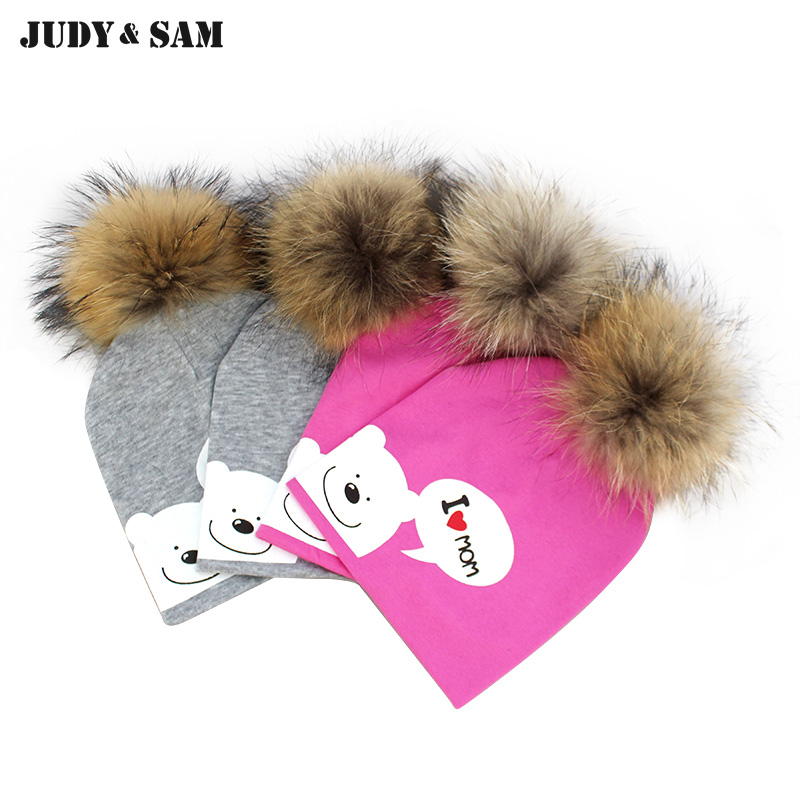 Spring Cap 2017 Touca Skullies 100% Cotton Infant Hat Bear Raccoon Fur Pompom Beanies For Newborn Bayby Cap skullies