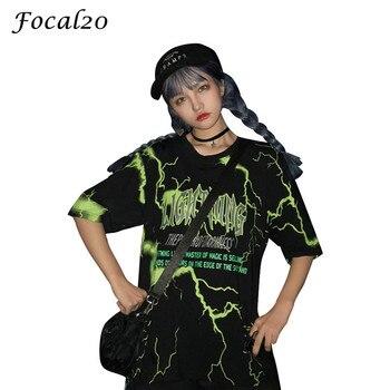 Focal20 Streetwear Wanita Petir Huruf Cetak T-shirt Lengan Pendek O-leher Musim Panas Kasual Longgar T Shirt Tee Top