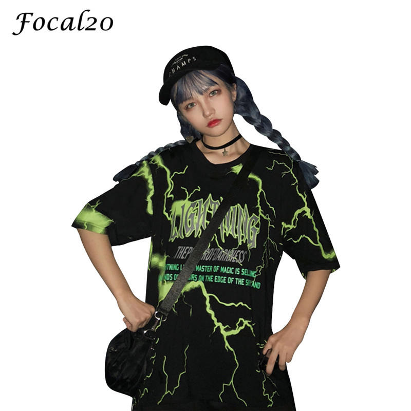 Focal20 Streetwear Women Lightning Letter Print T-shirt Short Sleeve O-neck Summer Casual Loose T Shirt Tee Top