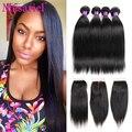 Straight Brazilian Virgin Hair With Closure 7a Brazilian Virgin Hair Straight With Closure 4pcs Human Hair Bundles With Closure