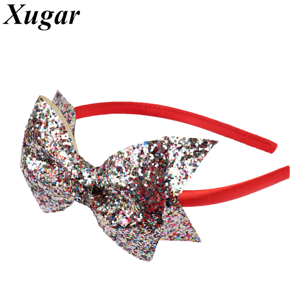 Kids' Sequin Bow Headbands Red Covered Hair Band Girls Hair Accessories for Dance Party Children Headwear 4 pcs lot high quality handmade solid nylon headband bow headbands for cute kids girls hair accessories headwear cloth head band