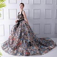 LAIPUTER 2018 Flower wydrukowano sukienka w dużym rozmiarze kobiety drukowane kwiaty krój a pasy Sexy szata De wieczór Longue 2018 suknia wieczorowa długa