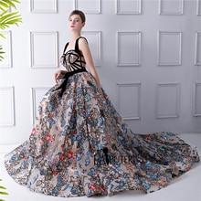 Laiputer 2018 플라워 프린트 맥시 드레스 여성 프린트 된 꽃 a 라인 스트랩 섹시한 로브 드 soiree longue 2018 댄스 파티 드레스 긴