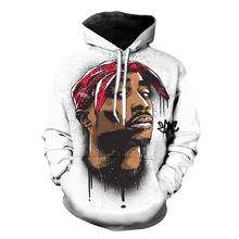 2017 sweatshirt Hoodies Men women Cool creative 3D print Gray Tupac Rap Celebrity fashion hot Style Winter Streetwear Clothing