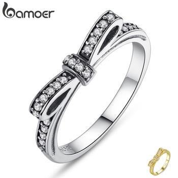 Srebrny pierścionek z cyrkoniami BAMOER