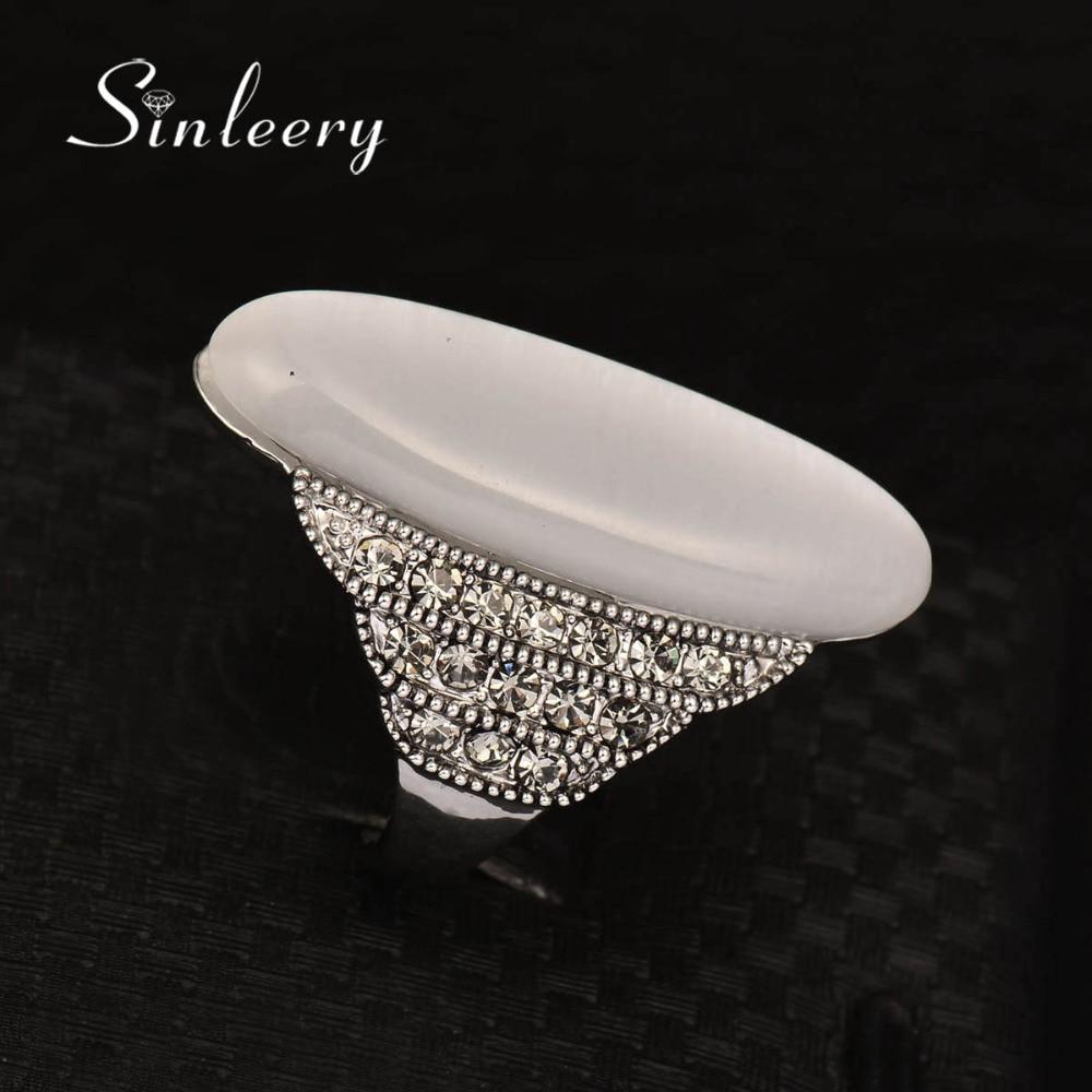 SINLEERY Vintage Big Opal Stone Shuttle Fingerringar för kvinnor - Märkessmycken - Foto 3