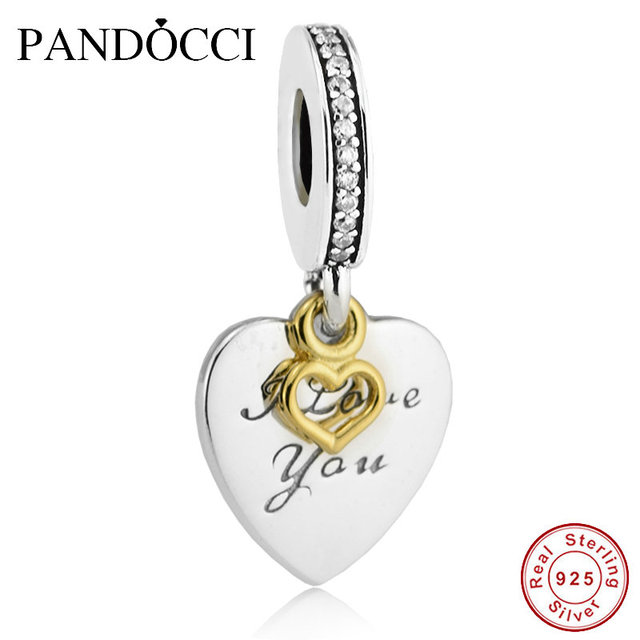 2017 valentines day 925 sterling silver with gold plated love you forever charms beads fit pandora - Valentines Pandora Charms
