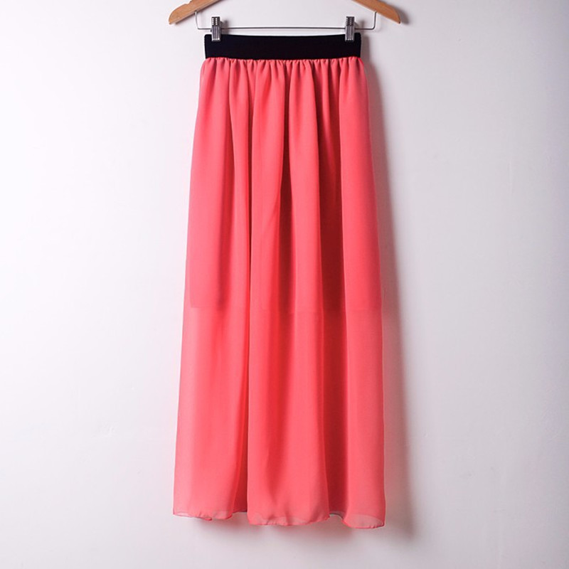 Danjeaner Summer High Wasit Candy Colors Chiffon Skirts Women Casual Slim Solid Pleated Long Skirts Faldas Saias Femininas Jupe