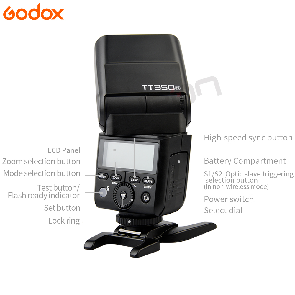 GODOX TT350 Flash 2* TT350-N + X1T-N TTL HSS 2.4g Wireless 1/8000 s GN36 Flash Speedlite Pocket lights TT350N X1TN For Nikon