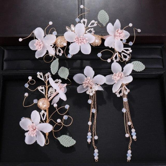 a85238ccf Coreano hilo Rosa diadema de flores pendientes de las mujeres Tiaras boda  juegos de joyería boda rendimiento accesorios LB