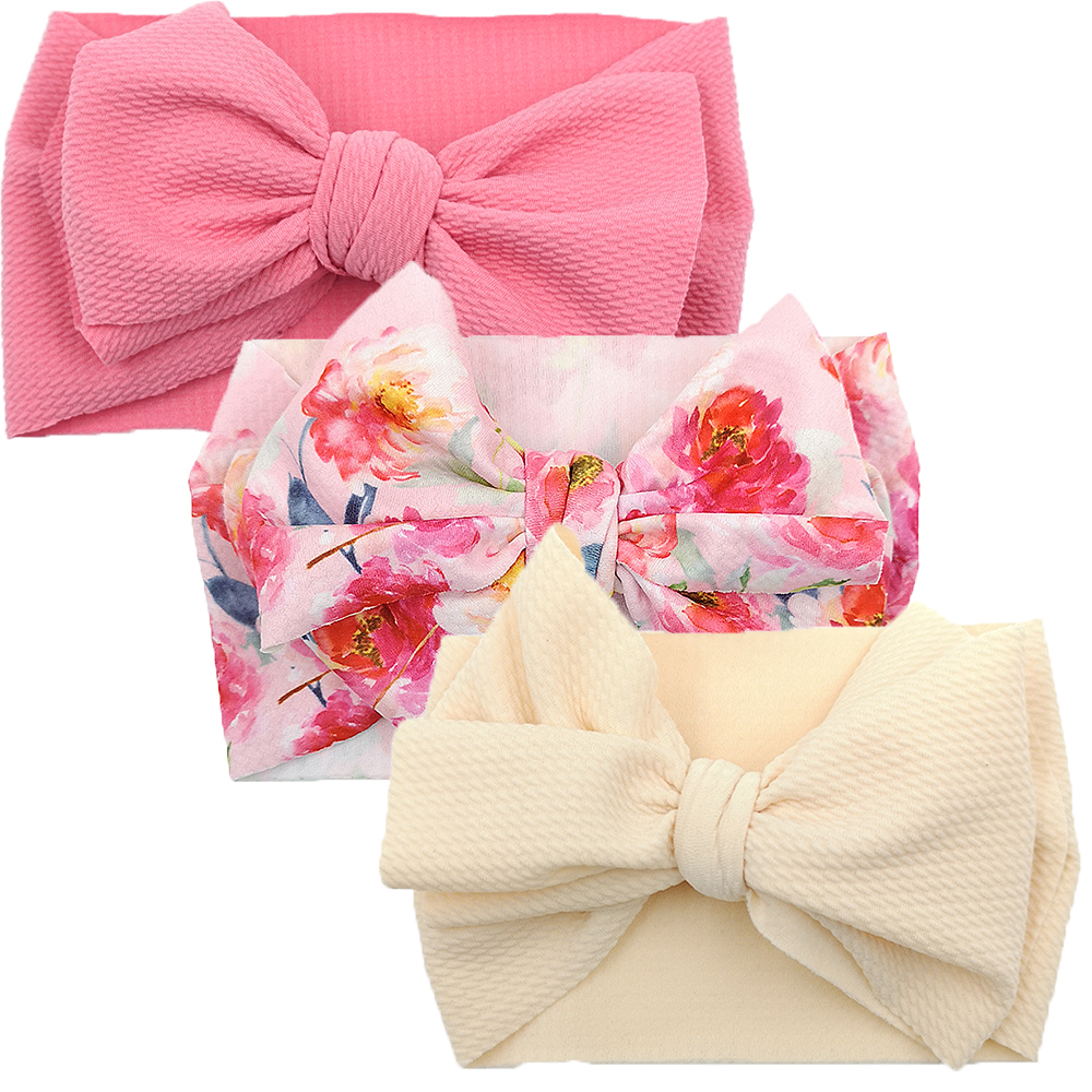 Nylon Bowknot Baby Girls Headband 3pcs/lot Infant Turban Headwraps Newborns Photography Props Haarband Baby Kidocheese