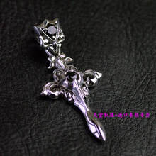 Thailand imports, Retro Style Black Zircon Silver Cross Pendant