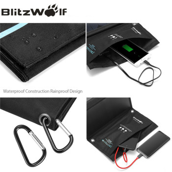 BlitzWolf Dual USB Solar Power Bank Solar Panel Powerbank External Battery Pack For iPhone X 8 For Samsung Phone Backup Charger 1