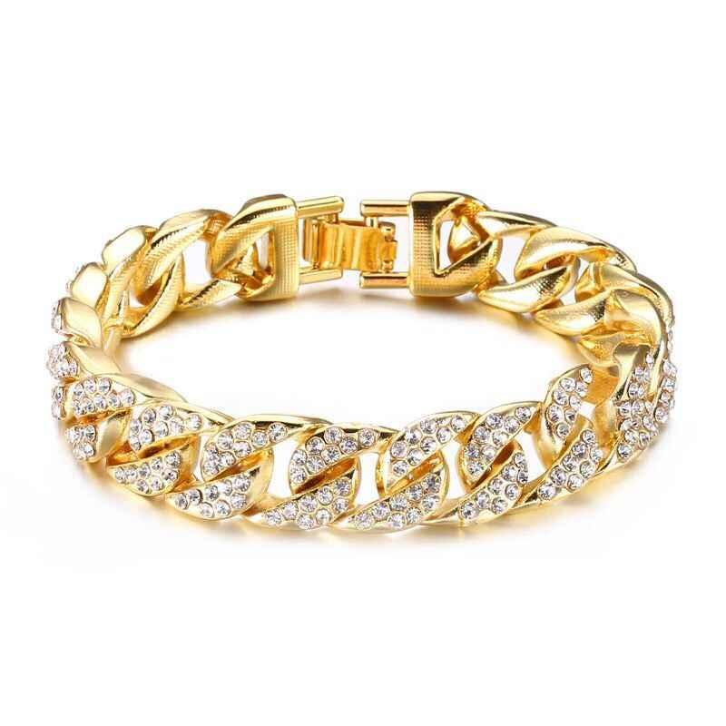MxGxFam (22 см x 14 мм) 316L Титановая Сталь золотой цвет Heavey полный браслеты из кристаллов для мужчин модные ювелирные изделия 2019 не выцветает
