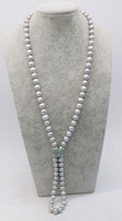 freshwater pearl gray near round 8 9mm necklace 32 nature FPPJ wholesale beads green zircon butterfly