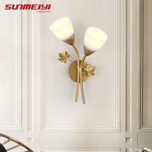 Vintage LED Wall Lamps Glass Flower Bedside Wall Light Fixtures Modern Wall Sconce Lamp For Living room Corridor Bedroom цены