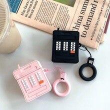 3D molle del telefono Mobile del silicone Senza Fili del Trasduttore Auricolare di Ricarica Della Copertura del Sacchetto per Apple AirPods 1 2 nero Rosa Auricolare Bluetooth Box