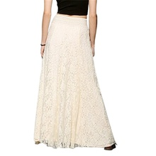 skirt new  Women Fahsion Concise High Waist Lace Long Style Solid Color All-match Casual