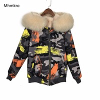 2018 Mhnkro бренд граффити новый хип хоп Дизайн куртка бомбер меха пальто с лисы пальто с капюшоном на меху Для женщин мехом одежда для зимы