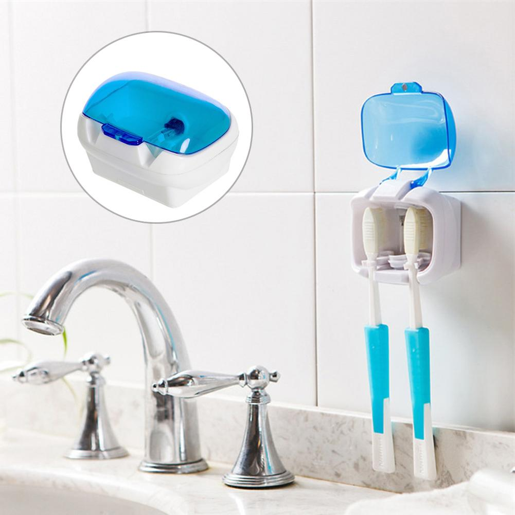 Toothbrush Sterilizer Wall-mounted UV Lamp Disinfection Box Suction Cup Holder New Well image