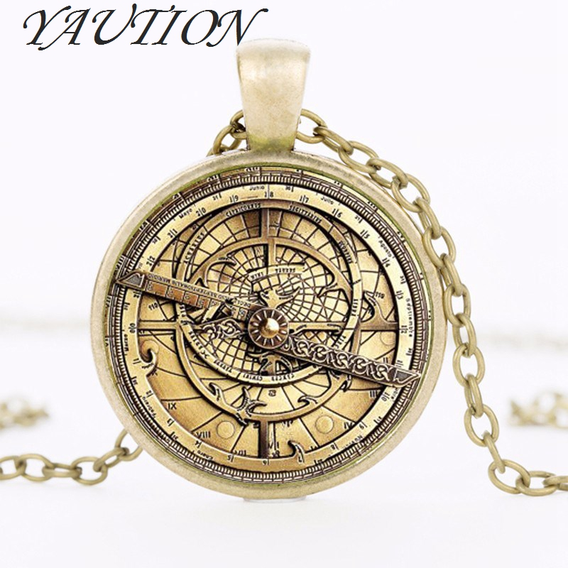 YAUTION Steampunk Gravity Falls Mysteries BILL CIPHER WHEEL Necklace doctor who Glass mens astrolabe women best friends Pendant