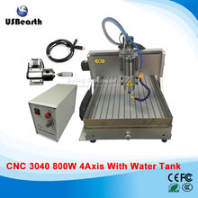 110v 220v 4 Axis usb CNC 3040 Water Tank CNC Router 800w Spindle CNC machine Milling machine