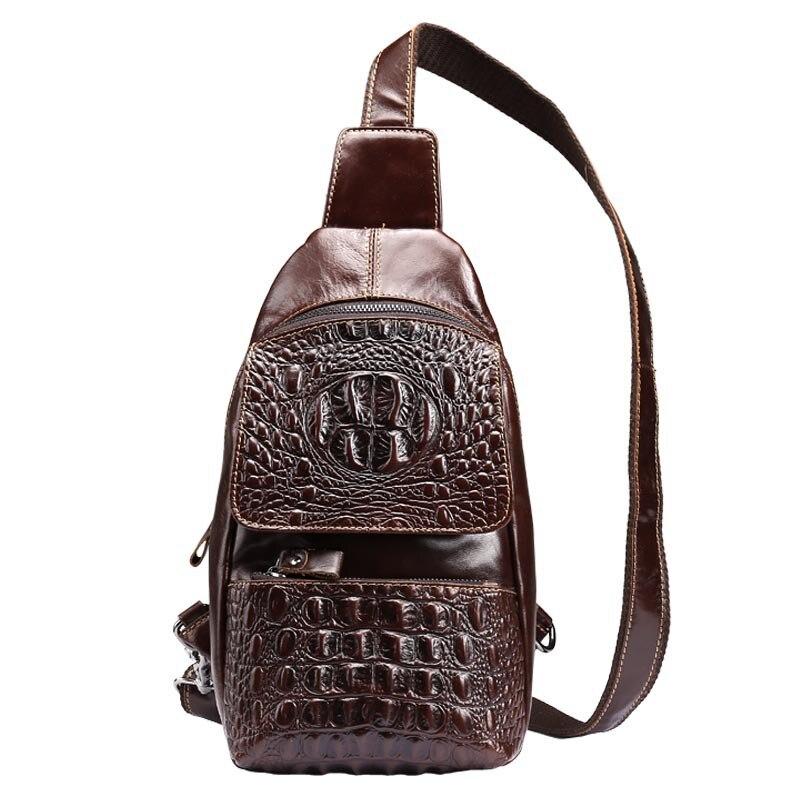 Vintage Alligator Men Genuine Leather Cowhide Sling Back Pack Party Travel Cross Body Waist Shoulder Chest Bag Multifunction