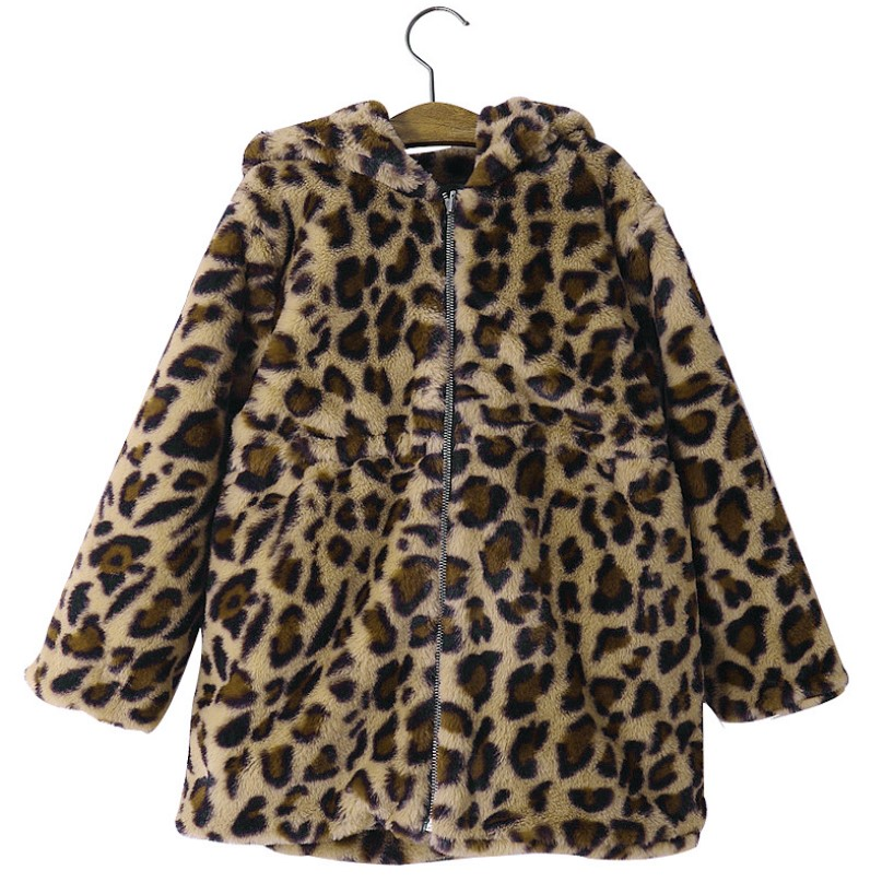 Children Faux Fur Coat Girls Winter jacket Leopard Grain Imitation Fur Toddler Kids Outerwear Teenagers Girls Clothes 4 To 10 Y