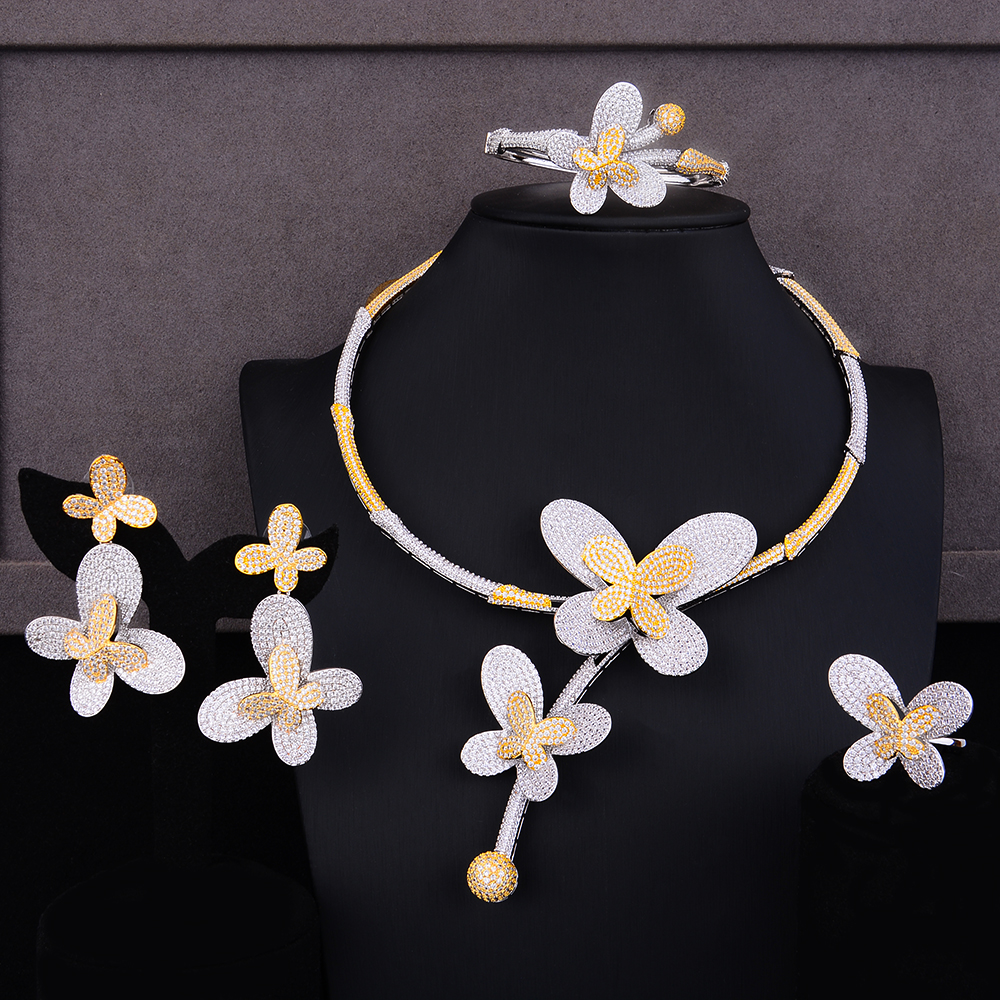 missvikki 2019 Handmade Charm 4PCS Bangle Open Ring Earrings Necklace Jewelry Set for Women Bridal Wedding Engagement Jewelry